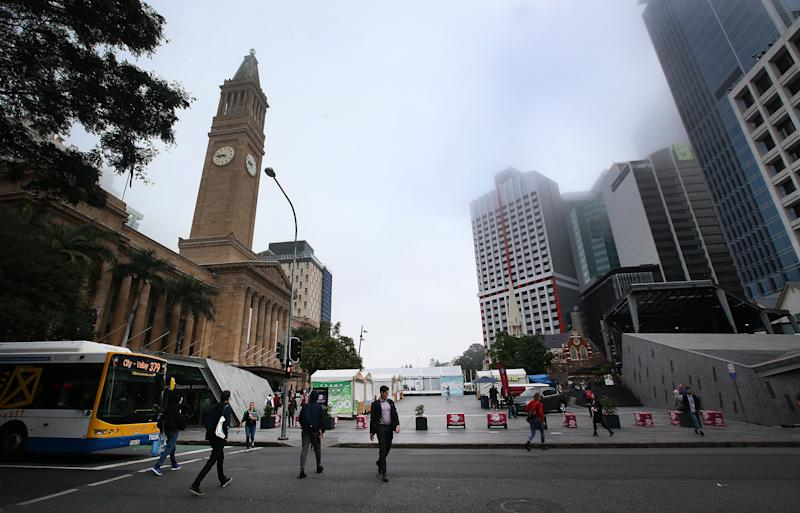 Foggy conditions in Brisbane city which is expected to continue throughout the mornings this week. Source: AAP