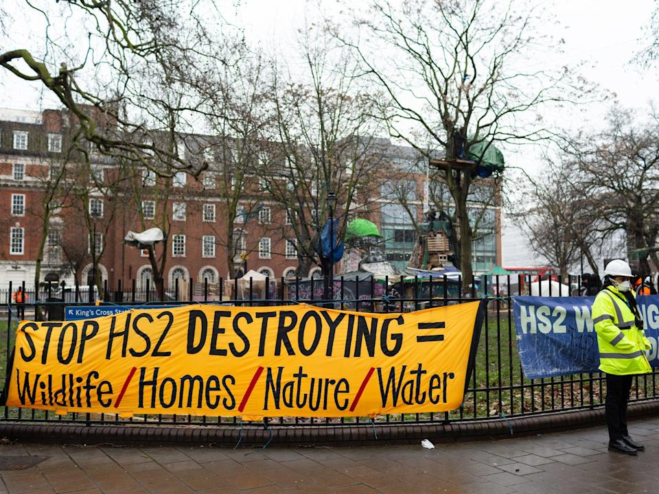 Protesters were evicted from their campsite at Euston Square Garden (Joshua Windsor)