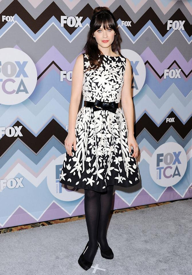 Zooey Deschanel arrives at the 2013 Winter TCA FOX All-Star Party at The Langham Huntington Hotel and Spa on January 8, 2013 in Pasadena, California.
