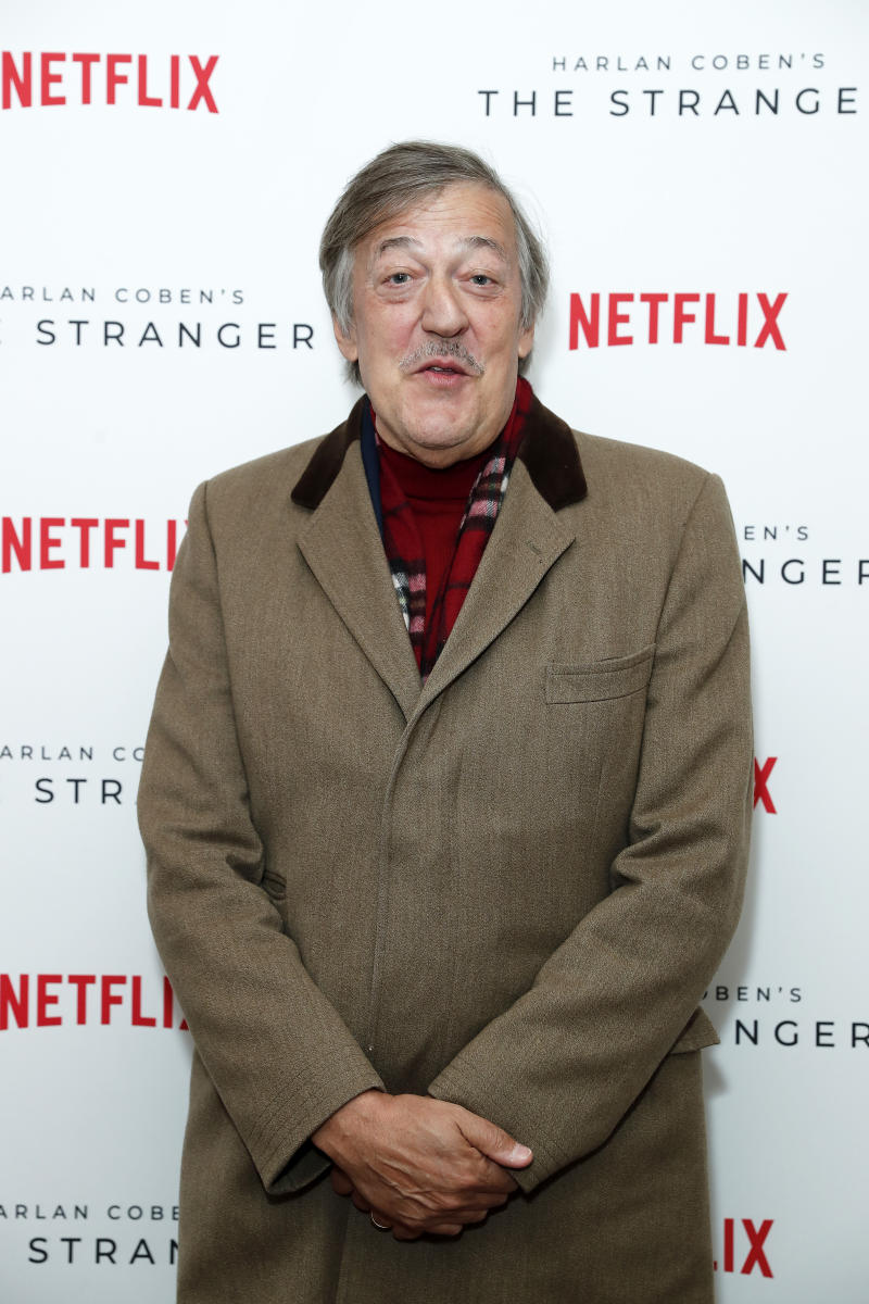 Stephen Fry attends 'Harlan Coben's The Stranger' screening and Q&A, which premieres on Netflix from 30 January 2020, at The Soho Hotel on December 10, 2019 in London, England. (Photo by David M. Benett/Dave Benett/Getty Images for Harlan Coben)
