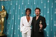 <p>Whitney Houston looked like a true girl boss at the 66th annual Academy Awards wearing an all-white pantsuit. </p>