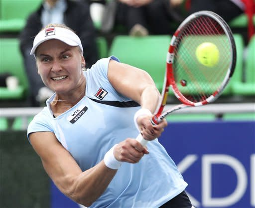 Nadia Petrova of Russia returns a shot against Lourdes Dominguez Lino of Spain during the first round match of Korea Open Tennis Championships in Seoul, South Korea, Wednesday, Sept. 19, 2012. Petrova won the match 6-2, 6-4. (AP Photo/Ahn Young-joon)