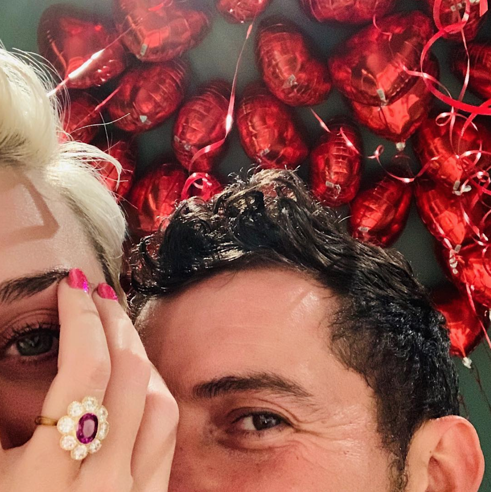 """<h2>Katy Perry</h2> <p>On Valentine's Day 2019, Orland Bloom <a rel=""""nofollow"""" href=""""https://www.brides.com/story/katy-perry-orlando-bloom-engaged?mbid=synd_yahoo_rss"""">popped the question</a> to Katy Perry with a unique flower-shaped ring, in a room filled with their family, friends, and plenty of heart-shaped balloons.</p>"""