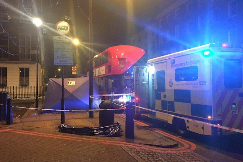 Stabbing: The man was found with knife injuries on the top deck of a bus: Westminster Police