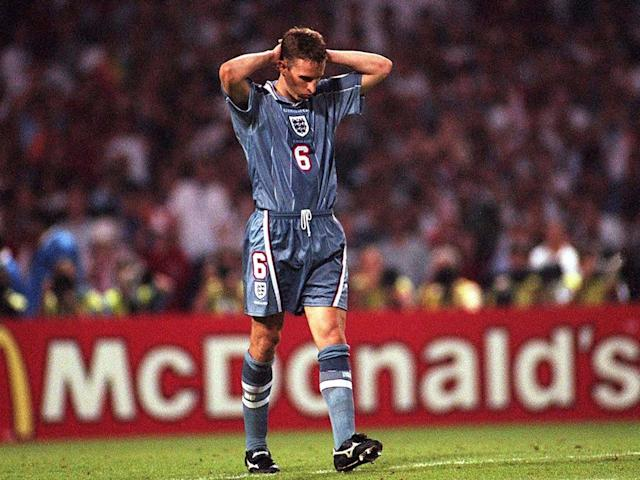 Gareth Southgate's infamous penalty miss against Germany at Euro '96 came to define his career: Getty