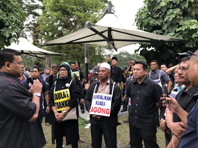 Datuk Lokman Noor Adam briefing the crowd as they prepare to march to Parliament, July 17, 2018. ― Pictures by Emmanuel Santa Maria Chin