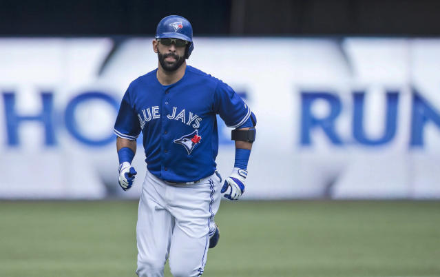 Toronto Blue Jays' Jose Bautista rounds the bases after hitting a solo homer off Milwaukee Brewers starting pitcher Wily Peralta during first inning interleague baseball action in Toronto on Wednesday July 2 , 2014. (AP Photo/The Canadian Press, Chris Young)