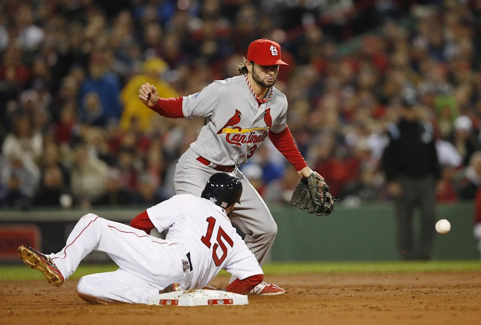 St. Louis Cardinals shortstop Pete Kozma cannot handle a toss from Matt Carpenter as Boston Red Sox's Dustin Pedroia slides during the first inning of Game 1 of baseball's World Series Wednesday, Oct. 23, 2013, in Boston. (AP Photo/Elise Amendola)