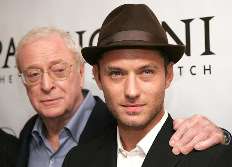"NEW YORK - OCTOBER 02: Actors Michael Caine (L) and Jude Law attend Sony Pictures Classics' Premiere Of ""Sleuth"" at the Paris Theatre on October 2, 2007 in New York City. (Photo by Bryan Bedder/Getty Images)"