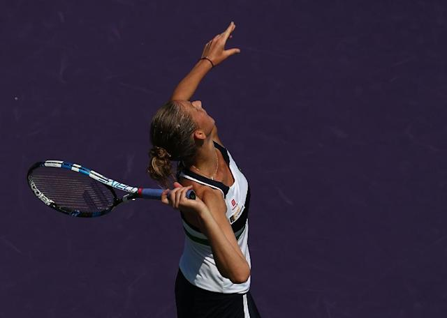 Karolina Pliskova of the Czech Republic serves against Madison Brengle of the US during their Miami Open second round match, at Crandon Park Tennis Center in Key Biscayne, Florida, on March 23, 2017 (AFP Photo/Al Bello)