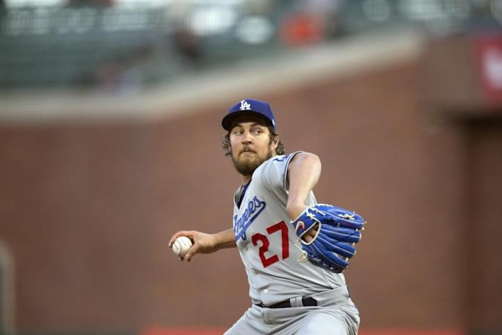 Los Angeles Dodgers starting pitcher Trevor Bauer works against the San Francisco Giants during the fourth inning of a baseball game, Friday, May 21, 2021, in San Francisco. (AP Photo/D. Ross Cameron)