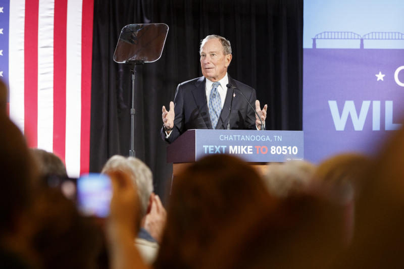 Democratic presidential candidate Mike Bloomberg speaks during a rally at the Bessie Smith Cultural Center, Wednesday, Feb. 12, 2020, in Chattanooga, Tenn. (C.B. Schmelter/Chattanooga Times Free Press via AP)