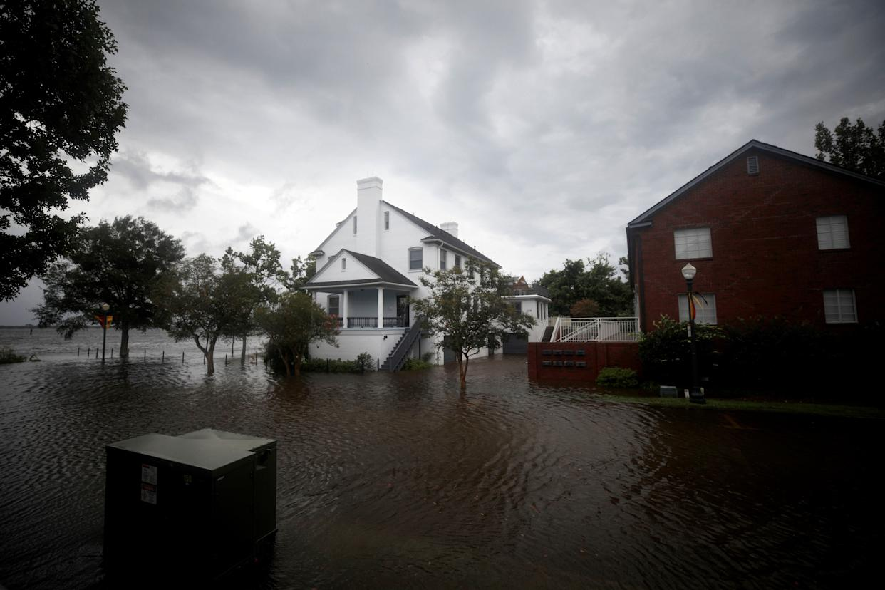 The outer bands of Hurricane Florence led to flooding in New Bern on Thursday. The full hurricane is expected to arrive on Friday.