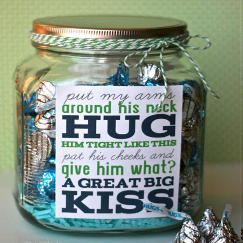 "<p>Although real hugs and kisses definitely take the cake, Dad will also surely appreciate a jar full of the chocolate hugs and kisses to sweeten his special day.</p><p><em>Get the tutorial at <a href=""https://happymoneysaver.com/frugal-fathers-day-ideas/"" rel=""nofollow noopener"" target=""_blank"" data-ylk=""slk:Happy Money Saver."" class=""link rapid-noclick-resp"">Happy Money Saver. </a> </em></p>"