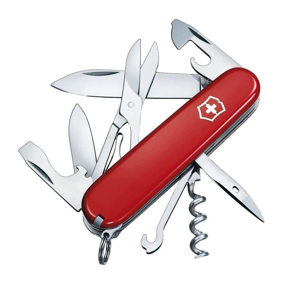 """<p><strong>Victorinox</strong></p><p>amazon.com</p><p><strong>$37.99</strong></p><p><a href=""""https://www.amazon.com/dp/B00KLG980G?tag=syn-yahoo-20&ascsubtag=%5Bartid%7C2141.g.32869392%5Bsrc%7Cyahoo-us"""" rel=""""nofollow noopener"""" target=""""_blank"""" data-ylk=""""slk:Shop Now"""" class=""""link rapid-noclick-resp"""">Shop Now</a></p><p>This Swiss Army pocket knife has a small and large blade, a Phillips screwdriver, a can opener, among other features that make taking this on the trail essential. Not only will this versatile knife help in addition to the first aid kit during emergencies, but it definitely makes cutting fruit or opening packaged food easier. Slip it on your keychain, so you'll have easy access in a pinch. </p>"""