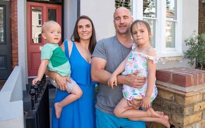 Chantel Elshout, 39, and her husband, Michael Craig, 45, are moving from Clapham to the Cotswolds - Paul Grover for the Telegraph/ Paul Grover
