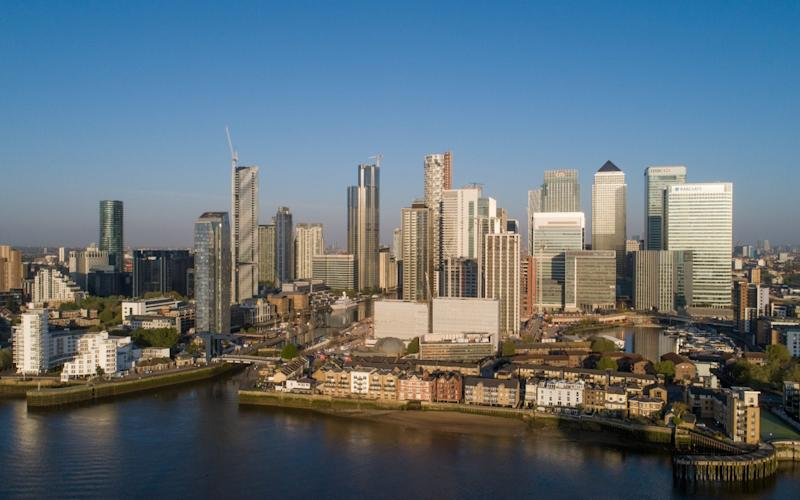 Aerial view of Canary Wharf District. - Jason Alden/Bloomberg