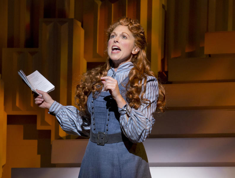 "FILE - This undated theater image released by The Publicity Office shows Carolee Carmello during a performance of the musical ""Scandalous: The Life and Trials of Aimee Semple McPherson,"" in New York. Carmello was nominated for a Tony Award for best leading actress in a musical. (AP Photo/The Publicity Office, Jeremy Daniel, file)"