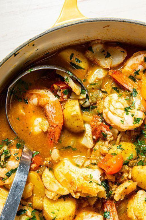 """<p>This Mediterranean-style <a href=""""https://www.delish.com/uk/cooking/recipes/g29843414/healthy-fish-recipes/"""" rel=""""nofollow noopener"""" target=""""_blank"""" data-ylk=""""slk:fish"""" class=""""link rapid-noclick-resp"""">fish</a> stew is really easy, really flavourful, and most of all - super healthy. We left out traditional ingredients like saffron to make it cheaper, and <a href=""""https://www.delish.com/uk/cooking/recipes/a29184626/steamed-mussels-recipe/"""" rel=""""nofollow noopener"""" target=""""_blank"""" data-ylk=""""slk:mussels"""" class=""""link rapid-noclick-resp"""">mussels</a> because it was just getting a bit too complicated. We kept it simple with <a href=""""https://www.delish.com/uk/cooking/recipes/a29733946/best-baked-cod-fish-recipe/"""" rel=""""nofollow noopener"""" target=""""_blank"""" data-ylk=""""slk:cod"""" class=""""link rapid-noclick-resp"""">cod</a> and <a href=""""https://www.delish.com/uk/cooking/recipes/a29664285/easy-lemon-garlic-shrimp-recipe/"""" rel=""""nofollow noopener"""" target=""""_blank"""" data-ylk=""""slk:prawns"""" class=""""link rapid-noclick-resp"""">prawns</a>, and it's delicious. </p><p>Get the <a href=""""https://www.delish.com/uk/cooking/recipes/a30293099/fish-stew/"""" rel=""""nofollow noopener"""" target=""""_blank"""" data-ylk=""""slk:Healthy Fish Stew"""" class=""""link rapid-noclick-resp"""">Healthy Fish Stew</a> recipe.</p>"""
