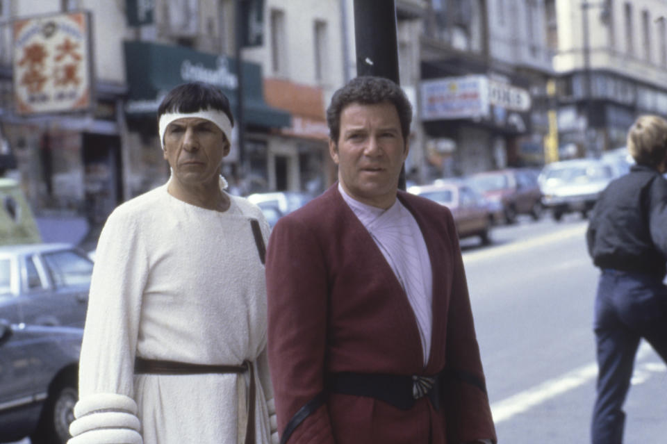Canadian actor William Shatner with actor and director Leonard Nimoy on the set of his movie Star Trek IV: The Voyage Home. (Photo by Paramount Pictures/Sunset Boulevard/Corbis via Getty Images)