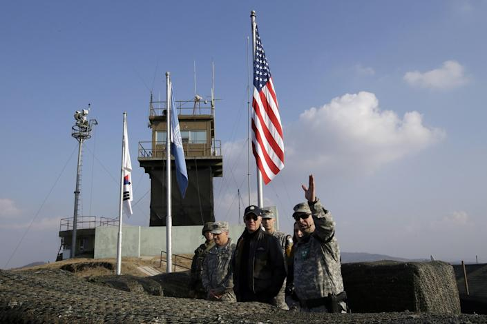 Then-U.S. Vice President Joe Biden visits the demilitarized zone between the Koreas in 2013.