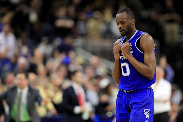 <p>Quincy McKnight #0 of the Seton Hall Pirates reacts in the second half against the Wofford Terriers during the first round of the 2019 NCAA Men's Basketball Tournament at Jacksonville Veterans Memorial Arena on March 21, 2019 in Jacksonville, Florida. </p>