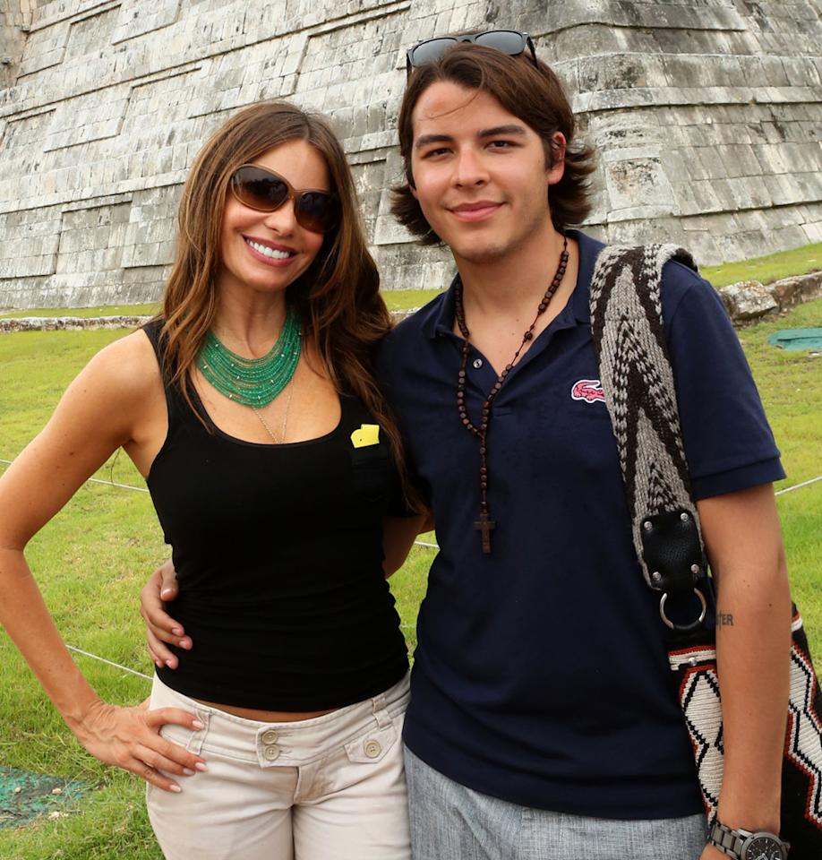 Sofia Vergara and her son Manolo Gonzalez bring her birthday celebration to Chichen-Itza, Mexico on July 10, 2012 in Chichen-Itza, Mexico.  (Photo by Jesse Grant/WireImage)
