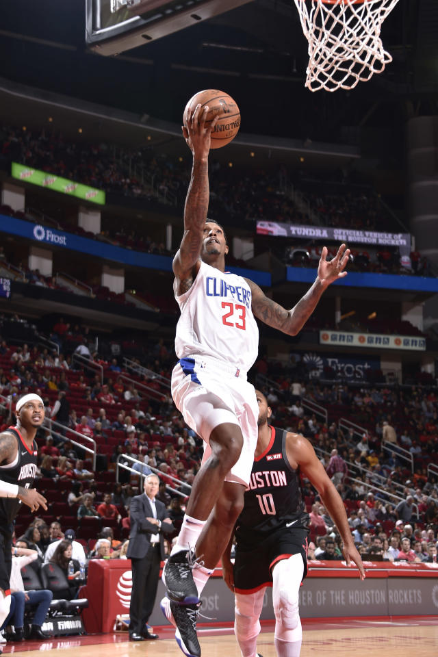 HOUSTON, TX - OCTOBER 26: Lou Williams #23 of the LA Clippers goes to the basket against the Houston Rockets on October 26, 2018 at the Toyota Center in Houston, Texas. (Photo by Bill Baptist/NBAE via Getty Images)