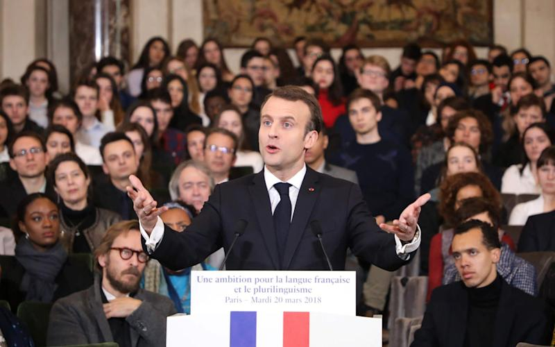 Mr Macron spoke at the Académie Française as part of the International Francophonie Day - AFP