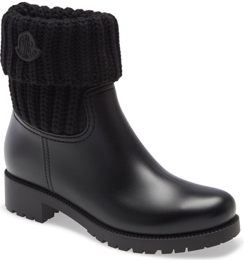 <p>If you need us, we'll be dreaming of these <span>Moncler Ginette Knit Cuff Leather Rain Boots</span> ($375).</p>