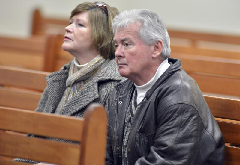 Maureen and Brendan Crawley, Irish natives now living in Somerville, Mass., listen to proceedings during a pre-trial hearing for Aisling McCarthy Brady at Cambridge, Mass., District Court Friday, Feb. 22, 2013. Lawyers for Brady, a nanny charged with assault and battery of a one-year-old girl in Cambridge, won a request during the hearing to preserve evidence in the case. Brady arrived from Ireland in 2002 on a tourist visa. The Crawleys were present to show their support. (AP Photo/The Boston Globe, Josh Reynolds, Pool)
