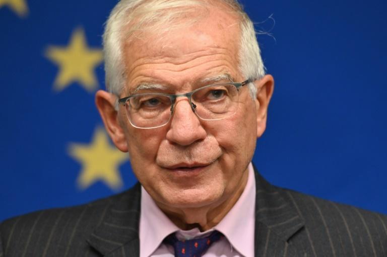 The EU's top diplomat Josep Borrell speaks during a press conference on September 20, 2021 in New York City (AFP/Angela Weiss)