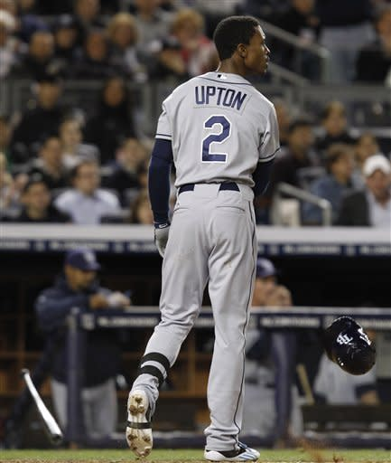 Tampa Bay Rays' B.J. Upton (2) reacts after New York Yankees pitcher CC Sabathia struck him out swinging with two runners on base in the seventh inning of during their baseball game at Yankee Stadium in New York, Thursday, May 10, 2012. (AP Photo/Kathy Willens)