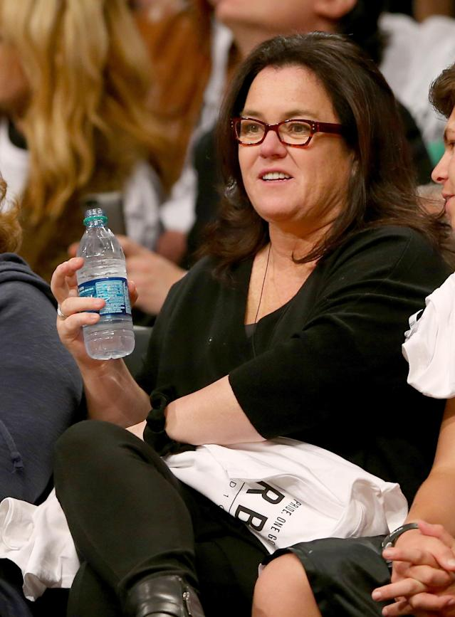 NEW YORK, NY - MAY 02: Rosie O'Donnell attends Game Six of the Eastern Conference Quarterfinals during the 2014 NBA Playoffs at the Barclays Center on May 2, 2014 in the Brooklyn borough of New York City. NOTE TO USER: The Brooklyn Nets defeated the Toronto Raptors 97-83. User expressly acknowledges and agrees that, by downloading and/or using this photograph, user is consenting to the terms and conditions of the Getty Images License Agreement. (Photo by Elsa/Getty Images)