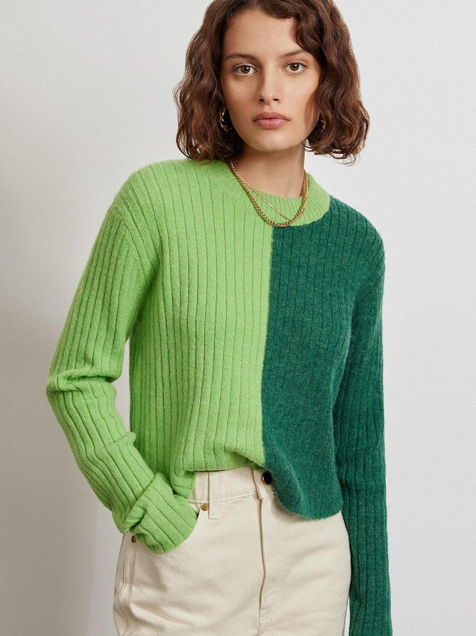 """<br><br><strong>Kitri x Jessie Bush</strong> Rory Colour Block Sweater, $, available at <a href=""""https://kitristudio.com/products/rory-colour-block-sweater?variant=39519993167923"""" rel=""""nofollow noopener"""" target=""""_blank"""" data-ylk=""""slk:Kitri"""" class=""""link rapid-noclick-resp"""">Kitri</a>"""