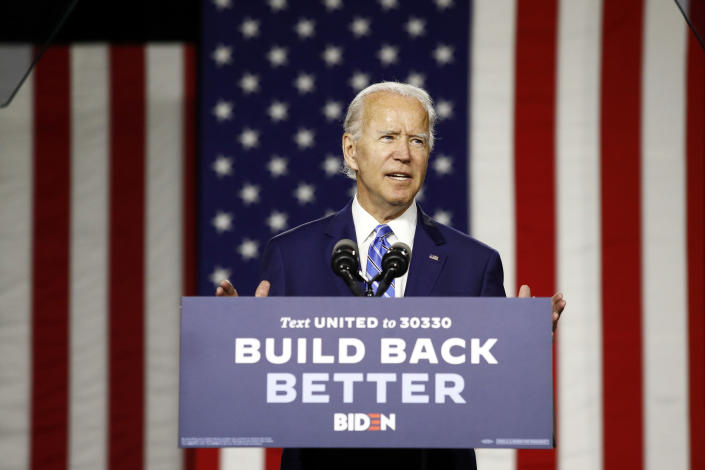 Joe Biden speaks during a campaign event, Tuesday, July 14, 2020, in Wilmington, Del. (Patrick Semansky/AP)
