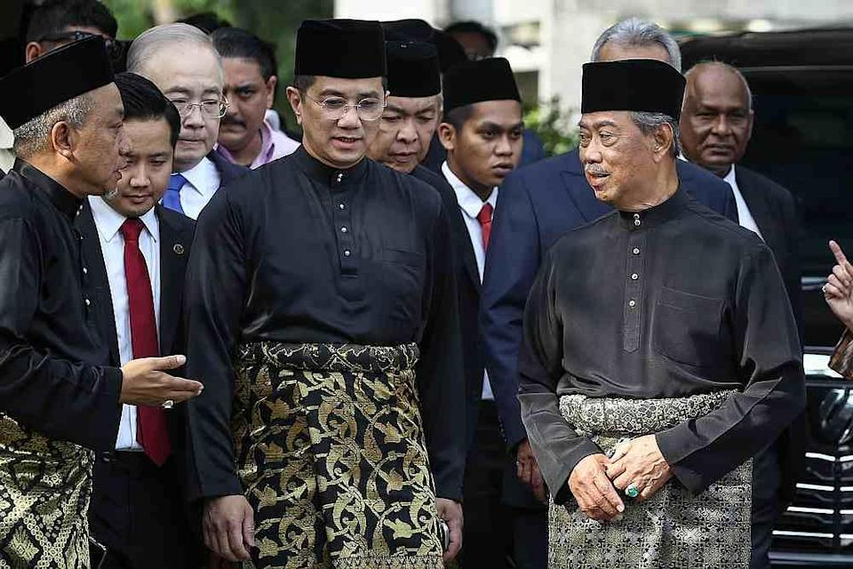Datuk Seri Mohamed Azmin Ali (centre)  and other party leaders gather at the residence of Tan Sri Muhyiddin Yassin (right) leaving for the Istana Negara in Kuala Lumpur March 1, 2020. — Picture by Yusof Mat Isa