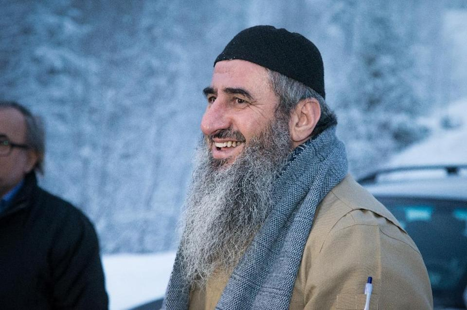 Najumuddin Faraj Ahmad, better known as Mullah Krekar, is pictured following his release from Kongsvinger prison in Norway, on January 25, 2015 (AFP Photo/Audun Braastad)