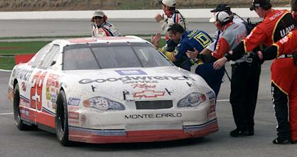 11 Mar 2001: Kevin Harvick is congratulated by all crew members after winning the Winston Cup Cracker Barrel 500 at Atlanta Motorspeedway in Hampton, Georgia. Digital Image. Mandatory Credit: Jonathan Ferrey/ALLSPORT