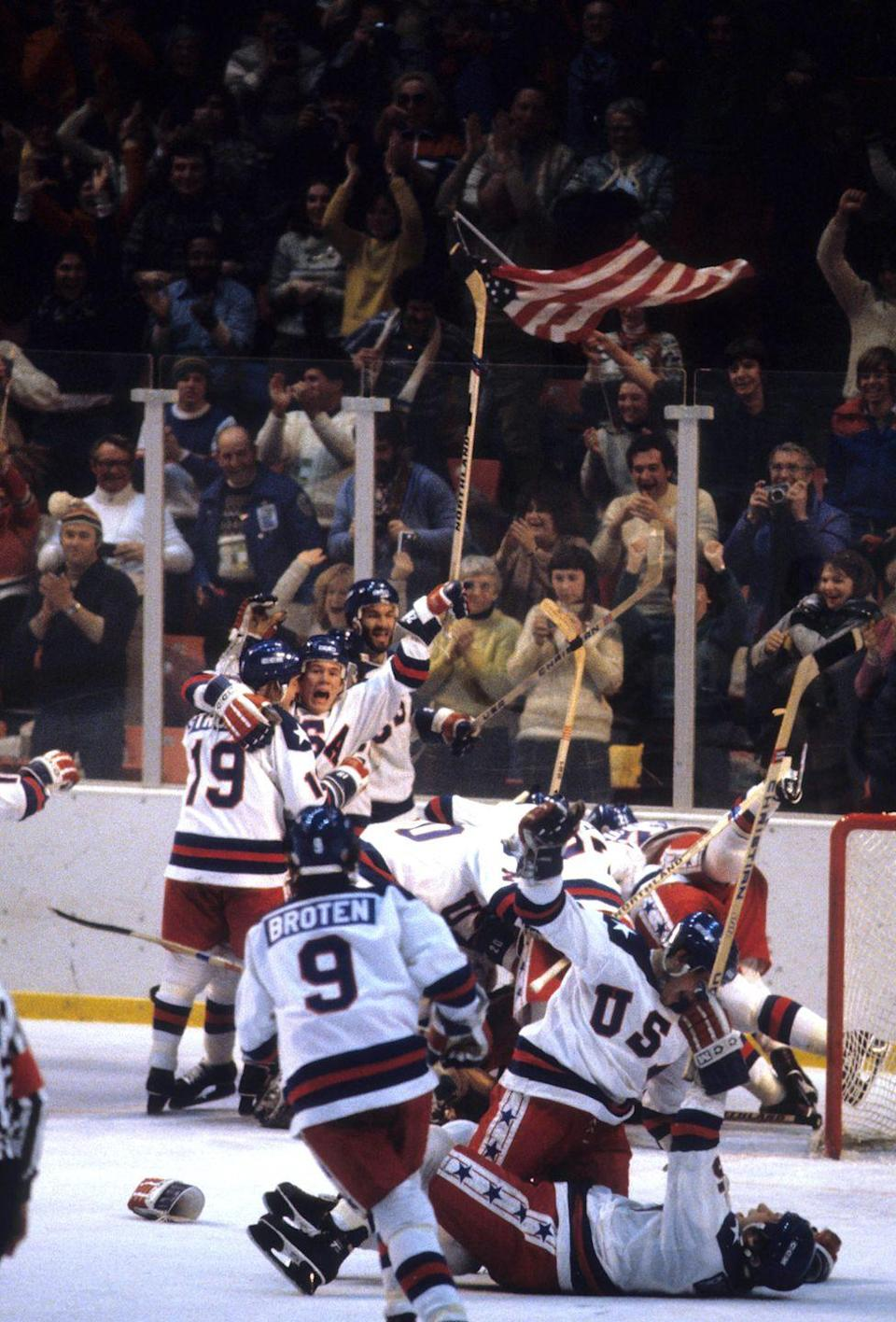 <p>1980. The United States national team, composed entirely of amateur and student hockey players, defeats the Soviet Union national team in the Winter Olympic Games.</p>