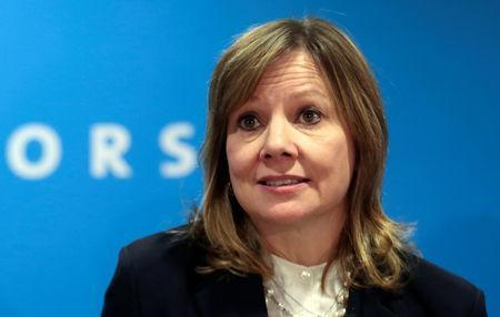 FILE PHOTO: General Motors Chairman and CEO Mary Barra speaks at GM's press conference at the North American International Auto Show in Detroit, Michigan, U.S., January 16, 2018. REUTERS/Rebecca Cook/File Photo