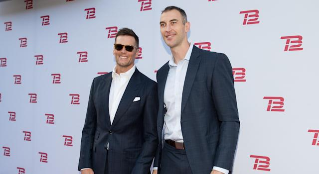 Tom Brady and Zdeno Chara at the grand opening of the TB12 Performance & Recovery Center in 2019. (Getty)