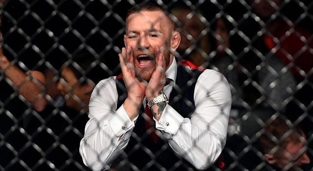 UFC lightweight champion Conor McGregor cheers on teammate Artem Lobov in his featherweight bout against Andre Fili during the UFC Fight Night event in Gdansk, Poland. (Jeff Bottari/Zuffa LLC/Getty Images)