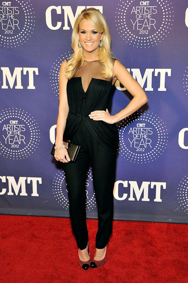 FRANKLIN, TN - DECEMBER 03:  Carrie Underwood arrives at the 2012 CMT Artists Of The Year at The Factory At Franklin on December 3, 2012 in Franklin, Tennessee.  (Photo by Frederick Breedon/WireImage)