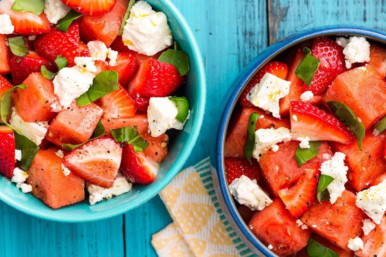 """<p>Step aside, all other fruit salads.</p><p>Get the recipe from <a rel=""""nofollow"""" href=""""http://www.delish.com/cooking/recipe-ideas/recipes/a47361/watermelon-strawberry-caprese-salad-recipe/"""">Delish</a>.</p>"""