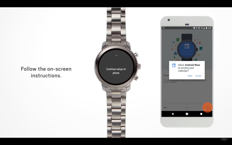 Setup for Fossil smartwatch