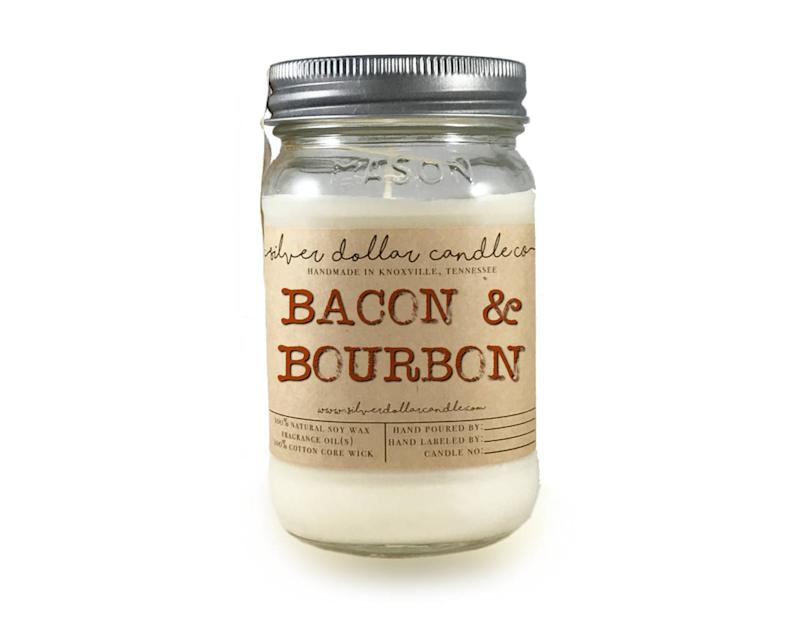 Bacon & Bourbon Scented Candle. Image via Etsy.