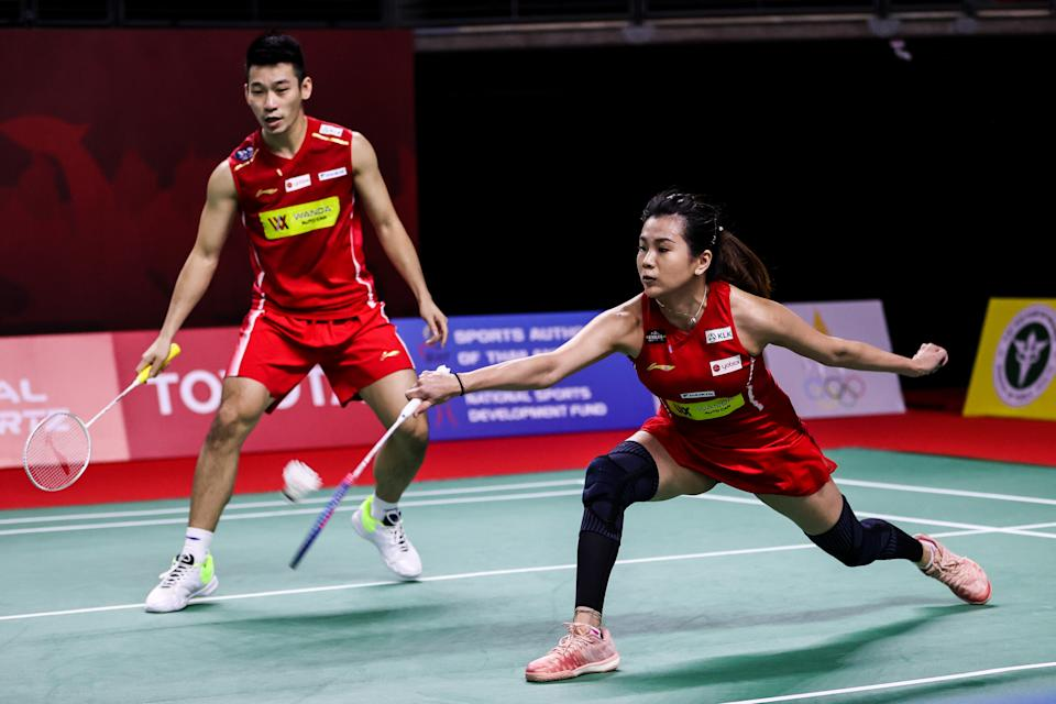 Malaysia's mixed double pair of Chan Peng Soon (left) and Goh Liu Ying at the 2021 Toyota Thailand Open.