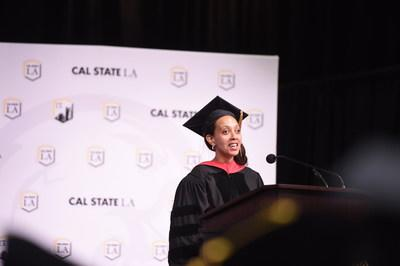 Disability rights advocate Haben Girma addresses graduates in the Charter College of Education at Cal State LA. (Credit: Robert Huskey/Cal State LA)