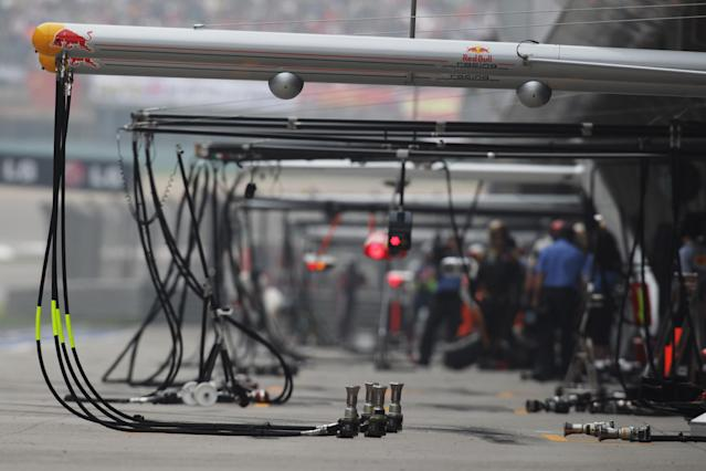 SHANGHAI, CHINA - APRIL 15: General view of the pitlane during the Chinese Formula One Grand Prix at the Shanghai International Circuit on April 15, 2012 in Shanghai, China. (Photo by Mark Thompson/Getty Images)